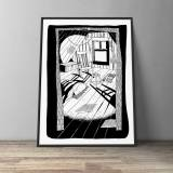 art-prints, gliceé, figurative, graphical, illustrative, monochrome, architecture, everyday life, black, white, ink, paper, black-and-white, contemporary-art, copenhagen, danish, decorative, design, interior, interior-design, modern, modern-art, nordic, scandinavien, time, Buy original high quality art. Paintings, drawings, limited edition prints & posters by talented artists.