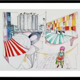 illustrations. Expressive modern art. buildings, colors, watermelon. talented artists, online art gallery.