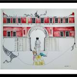 illustrations. Expressive modern art. buildings, colors, working, red building. talented artists, online art gallery.