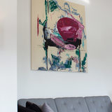 paintings, abstract, aesthetic, expressive, bodies, movement, people, black, green, pink, acrylic, cotton-canvas, abstract-forms, contemporary-art, decorative, expressionism, modern, modern-art, Buy original high quality art. Paintings, drawings, limited edition prints & posters by talented artists.
