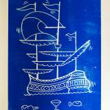 art-prints, linocuts, figurative, pop, oceans, sailing, transportation, blue, white, paper, boats, contemporary-art, danish, decorative, design, interior, interior-design, modern, modern-art, nordic, posters, scandinavien, street-art, vessels, water, Buy original high quality art. Paintings, drawings, limited edition prints & posters by talented artists.