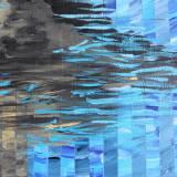 bridge water streaks blue colors abstract paintings galleries artists art decor