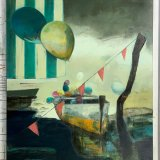 paintings, expressive, figurative, graphical, surrealistic, moods, oceans, sailing, sky, beige, green, orange, yellow, acrylic, charcoal, cotton-canvas, oil, beach, beautiful, boats, bright, contemporary-art, copenhagen, expressionism, interior-design, modern-art, nordic, outdoors, sailboat, scandinavien, sea, ships, summer, sun, vessels, water, Buy original high quality art. Paintings, drawings, limited edition prints & posters by talented artists.