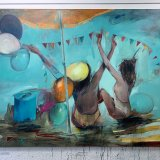 paintings, colorful, expressive, figurative, graphical, bodies, moods, movement, people, blue, orange, pink, yellow, acrylic, charcoal, cotton-canvas, oil, atmosphere, beach, beautiful, bright, contemporary-art, copenhagen, expressionism, girls, interior-design, modern, modern-art, nordic, scandinavien, sea, summer, sun, travel, women, Buy original high quality art. Paintings, drawings, limited edition prints & posters by talented artists.