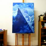 paintings, aesthetic, figurative, geometric, architecture, movement, patterns, skies, blue, white, cotton-canvas, oil, architectural, atmosphere, Buy original high quality art. Paintings, drawings, limited edition prints & posters by talented artists.