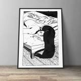 art-prints, gliceé, aesthetic, illustrative, monochrome, portraiture, bodies, everyday life, people, sexuality, black, white, ink, black-and-white, nude, Buy original high quality art. Paintings, drawings, limited edition prints & posters by talented artists.