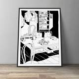 art-prints, gliceé, figurative, graphical, illustrative, monochrome, cartoons, everyday life, black, white, paper, black-and-white, sea, time, trees, Buy original high quality art. Paintings, drawings, limited edition prints & posters by talented artists.