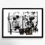art-prints, gliceé, abstract, figurative, portraiture, bodies, people, black, white, ink, paper, danish, decorative, design, faces, girls, interior, interior-design, nordic, scandinavien, women, Buy original high quality art. Paintings, drawings, limited edition prints & posters by talented artists.