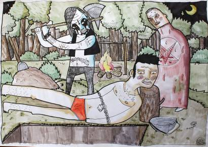 violence axe kill execution strong and expressive art illustrations and drawings, talented Danish illustrator, cartoonist, faverige