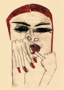 art-prints, gliceé, expressive, figurative, graphical, illustrative, portraiture, people, sexuality, beige, black, red, ink, paper, faces, women, Buy original high quality art. Paintings, drawings, limited edition prints & posters by talented artists.