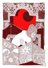 art-prints, gliceé, figurative, graphical, illustrative, portraiture, bodies, cartoons, patterns, sexuality, brown, red, white, paper, nude, sketch, Buy original high quality art. Paintings, drawings, limited edition prints & posters by talented artists.