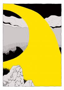 art-prints, gliceé, abstract, graphical, illustrative, landscape, cartoons, movement, nature, black, grey, yellow, paper, abstract-forms, scenery, Buy original high quality art. Paintings, drawings, limited edition prints & posters by talented artists.