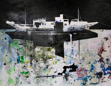 paintings, abstract, expressive, figurative, landscape, movement, nature, oceans, sailing, transportation, black, blue, grey, acrylic, flax-canvas, oil, other-mediums, abstract-forms, boats, danish, horizontal, interior, interior-design, modern, modern-art, nordic, ships, Buy original high quality art. Paintings, drawings, limited edition prints & posters by talented artists.