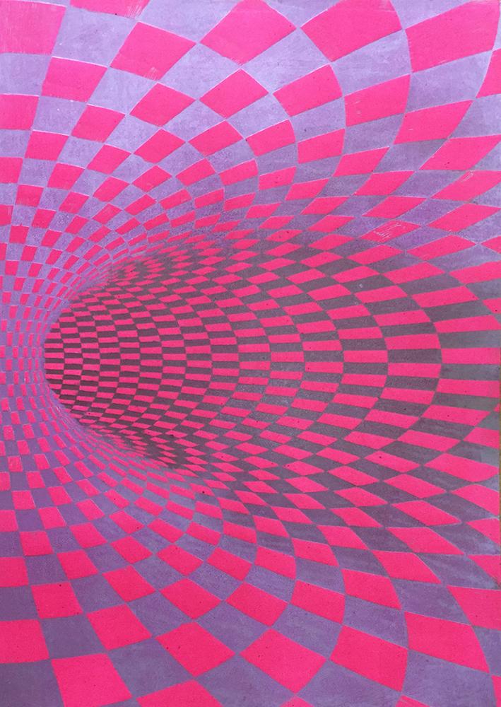 TOROIDAL SPACE linocut_colour versions