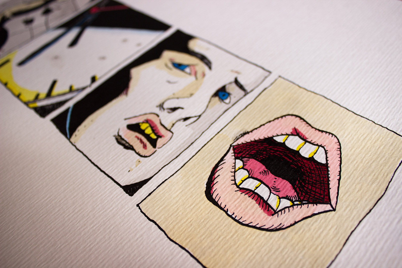 drawings, graphical, illustrative, pop, portraiture, cartoons, everyday life, moods, people, black, white, yellow, ink, paper, watercolor, contemporary-art, faces, modern, modern-art, sketch, Buy original high quality art. Paintings, drawings, limited edition prints & posters by talented artists.