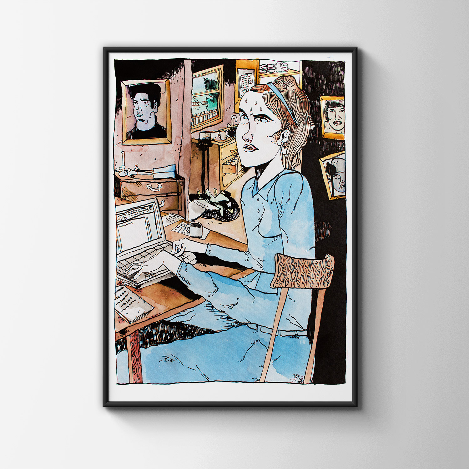 drawings, graphical, illustrative, portraiture, everyday life, people, sexuality, black, grey, white, artliner, paper, marker, nude, Buy original high quality art. Paintings, drawings, limited edition prints & posters by talented artists.