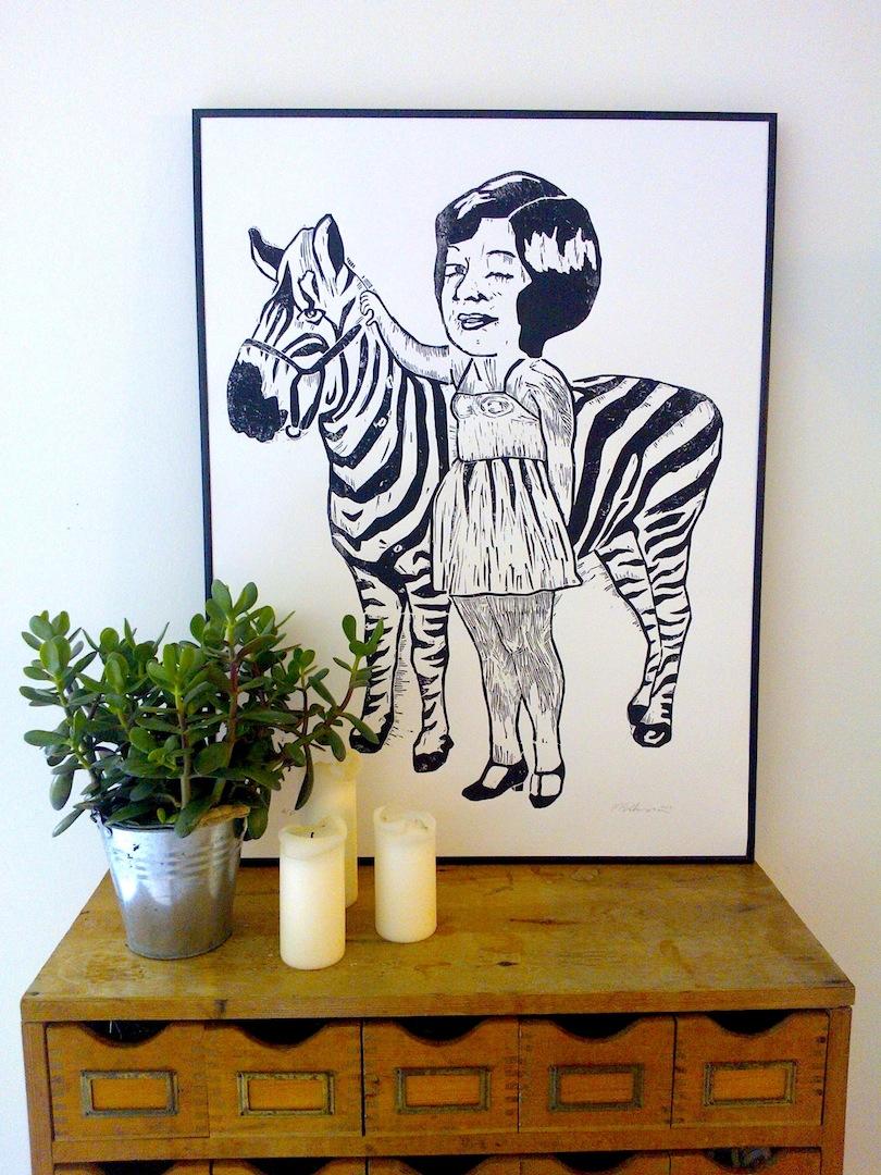 monika petersen zebra girl lino print framed